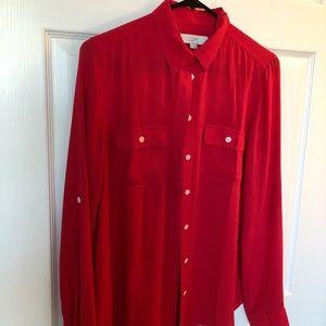 Loft red button down blouse